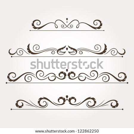 Set of four calligraphic floral design elements and page decoration. Vector illustration