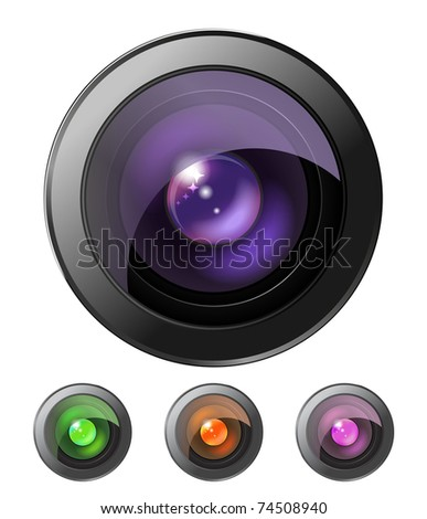 Set of four camera lenses isolated