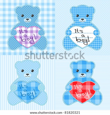 Set of four cards with blue teddy bears for boy. You can change text and make birthday card, baby shower invitation, arrival announcement etc.