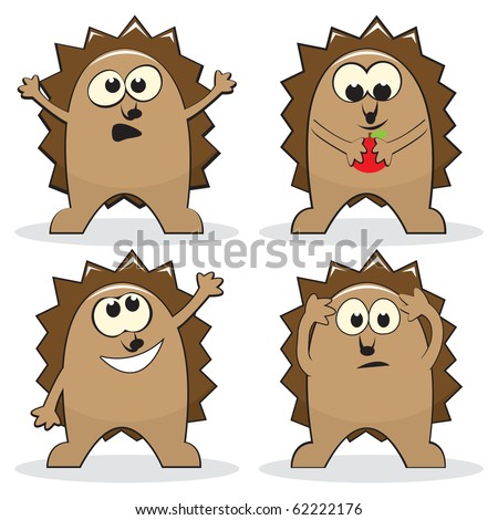 Set of four cartoon hedgehogs. Vector illustration