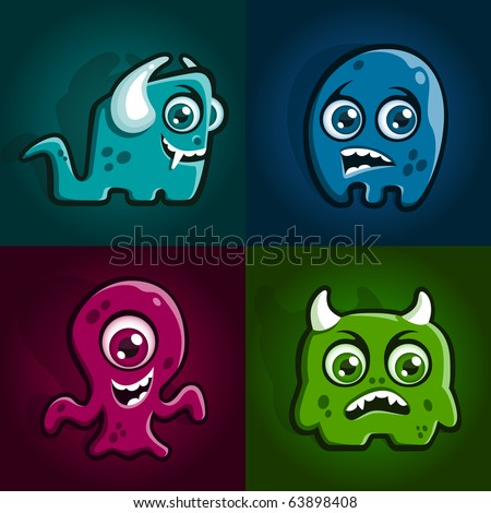 Set of four cartoon monster characters creatures - stock vector