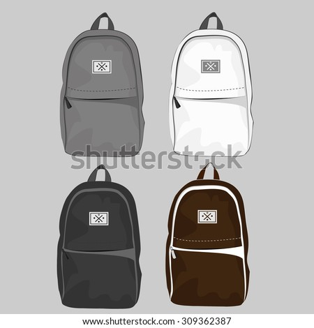 Set of four casual and style backpack