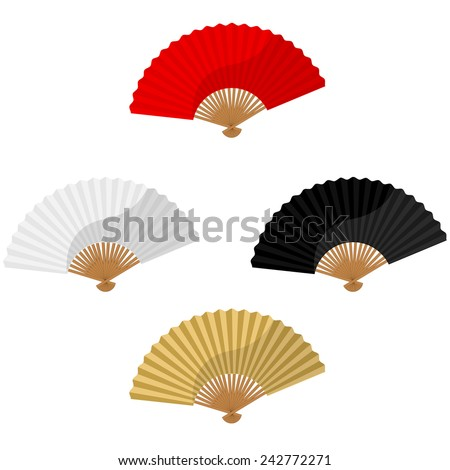 Set of four chinese folding hand fan vector isolated on white, red, white, black, golden