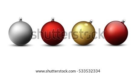 Set of four christmas balls on a white background with shadows. Vector, eps10.