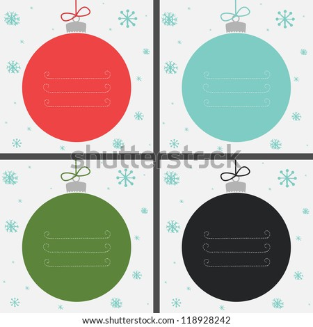Set of four Christmas baubles in different colors with snowflakes and place for your text. Vector illustration.