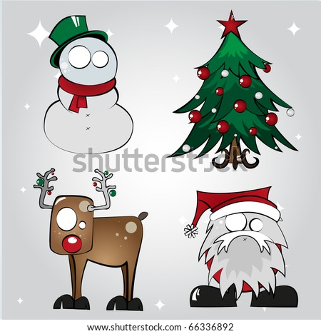 Set of Four Christmas Character Illustrations 2