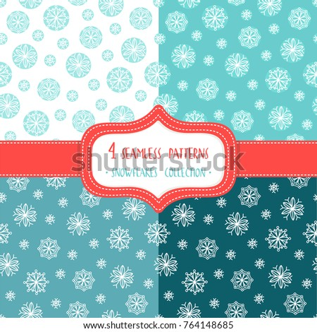 Set of four Christmas seamless vector patterns with snowflakes. These patterns are suitable for the design of wrapping paper, scrapbooking and so on.