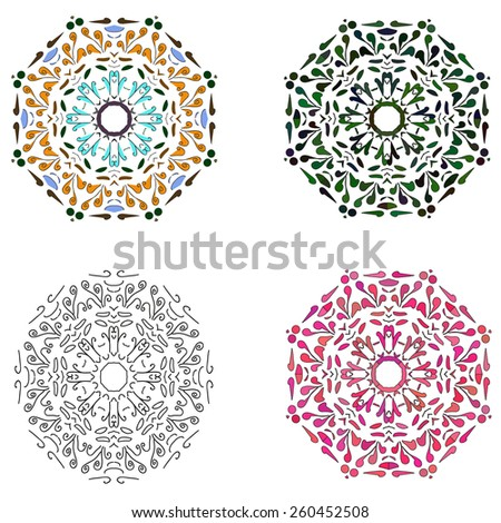set of four circular patterns