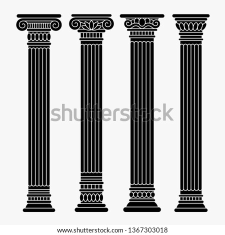 Set of four classical ancient greek, roman black columns, pillars, orders.