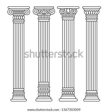 Set of four classical ancient greek, roman columns, pillars, orders.