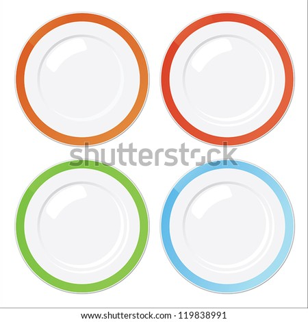 Set of four clean plates with orange, red, green and blue vintage borders