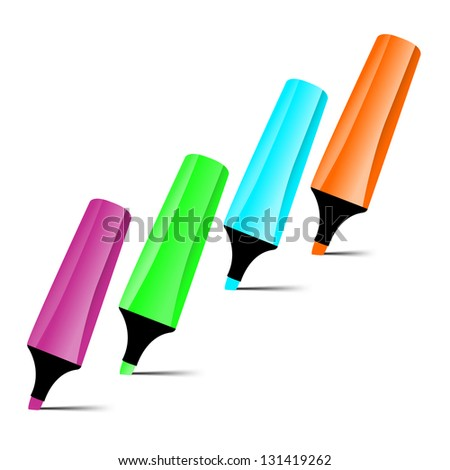Set of four-color markers isolated on white background