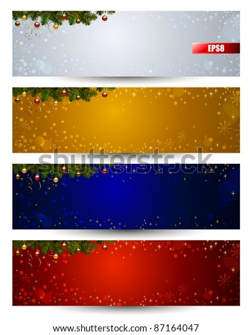 set of four color various Christmas banners with fir tree and balls