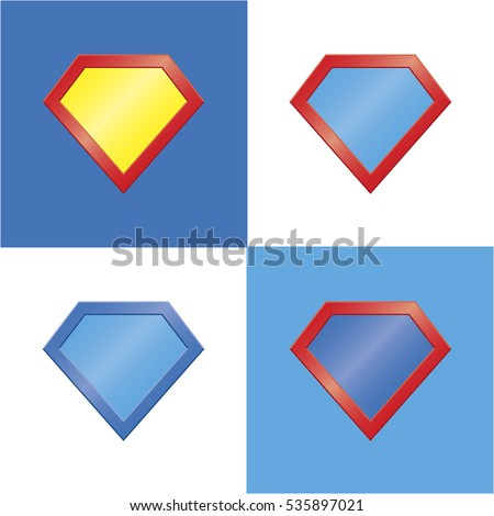 set of four colored superhero