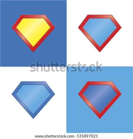 set of four colored superhero