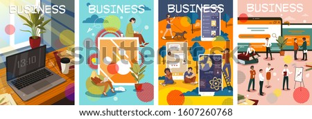 Set of four colorful business poster designs showing various digital devices and their applications in the office and groups of businesspeople in meetings and presentations, vector illustration