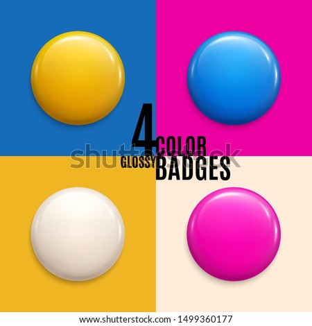 Set of four colorful glossy badges or buttons. Can be used as volunteer label, emblem, round plastic pin. 3d render. Vector.