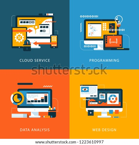 Set of four colorful illustrations. Cloud service, programming, data analysis, web design. Business icons.