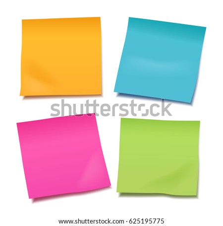 Set of four colorful vector blank sticky post it notes isolated on white background