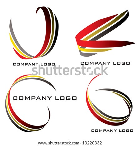 Set of four company logos in red gold and black