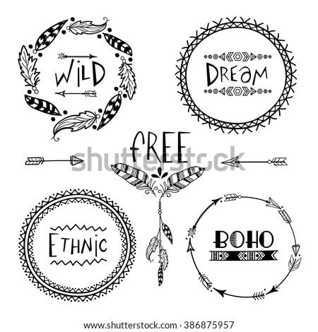 set of four creative boho style