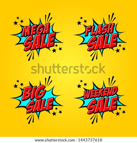 Set of Four, Creative vector Design in comic style for Flash Sale, Weekend Sale, Mega Sale or Big Sale