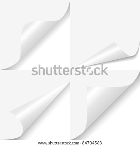 Set of four curled corners of white sheet