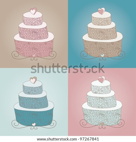set of four cute colorful cakes