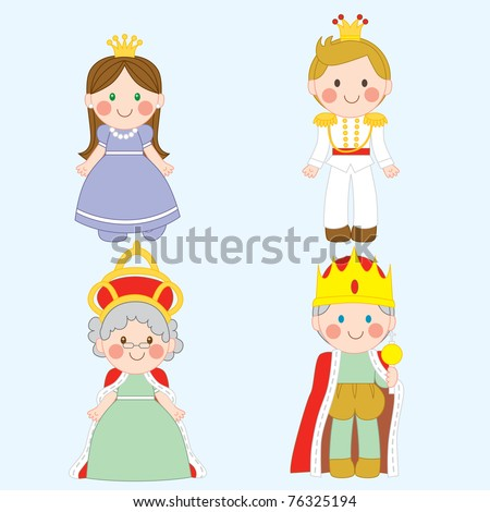 Set of four cute royal family characters