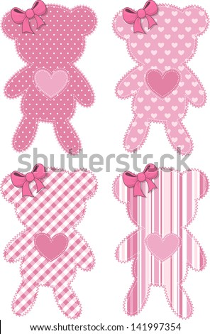 set of four cute teddy bear applique in pink for baby girls in vector format very easy to edit individual objects