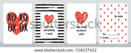 set of four cute valentine