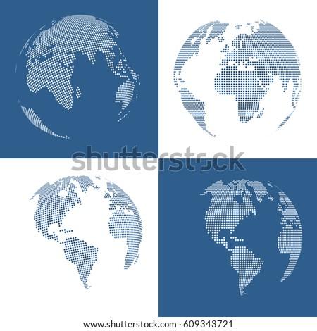 Set of four 3d dotted globes. Vector illustration.