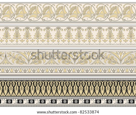 Set of four decorative borders ornamental in editable vector file