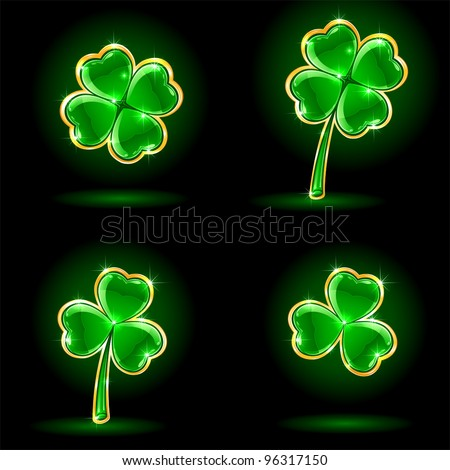 Set of four decorative leaves of a clover, illustration