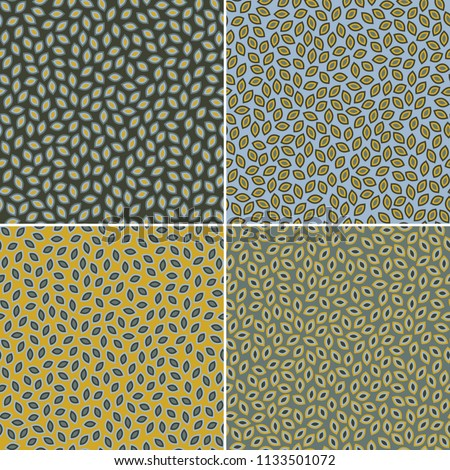 Set of four decorative patterns with multi grain elements, seamless repeat. Trendy vintage style. Great for wallpaper, textile or wrapping paper design.