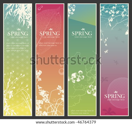 set of four delicate asia-style vertical banners with floral elements