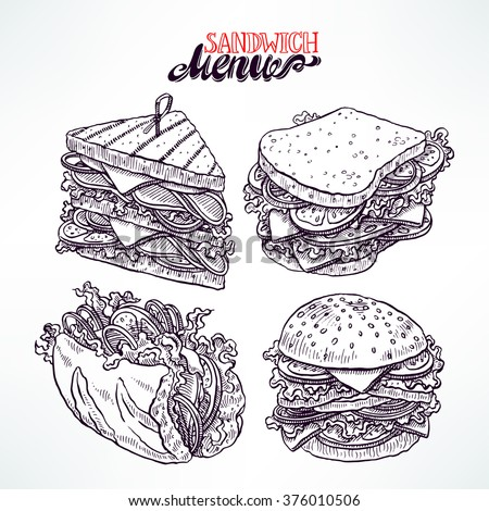 set of four delicious appetizing sandwiches. hand-drawn illustration