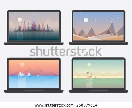 set of four desktop wallpaper