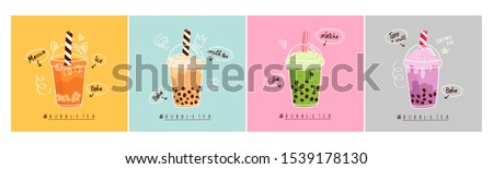Set of four different Bubble tea. Milk tea with tapioca pearls. Boba tea. Asian Taiwanese drink. Hand drawn colored trendy vector illustration. Cartoon style. Flat design. All elements are isolated