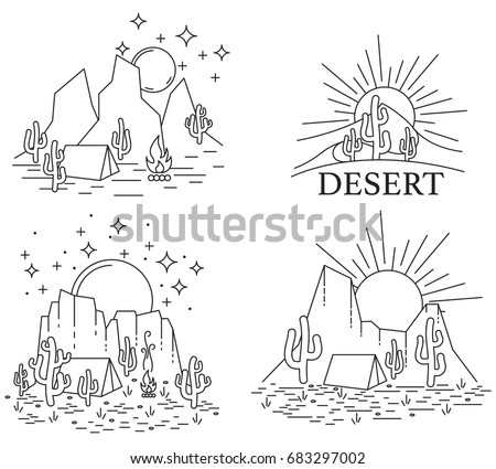 Set of four different desert landscape. Dayly and nightly desert in line art style black and white outline. Vector illustrtion