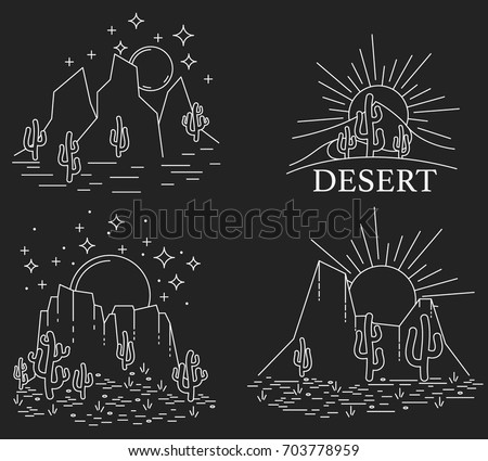 set of four different desert