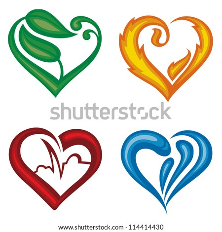 set of four different icons of hearts - stock vector