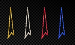 Set of four doodle hand drawn arrows with gold, silver, blue and red glitter effect on dark transparent background. Vector illustration