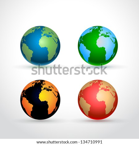 Set of four Earth globe icons - on light grey background