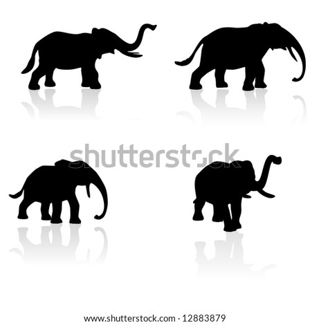 Set of four elephant silhouettes with removable reflections each saved to individual layers
