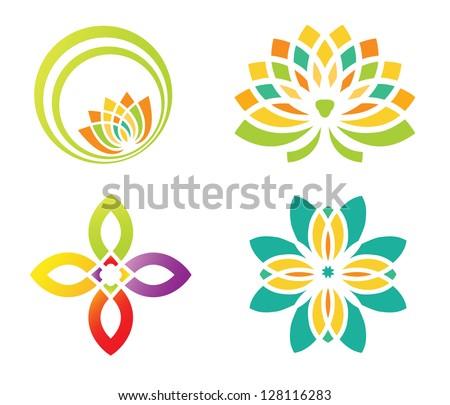 Set of four floral designs elements for logo designing
