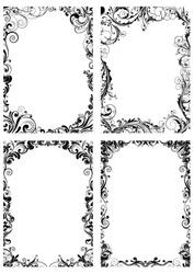Set of four floral frame