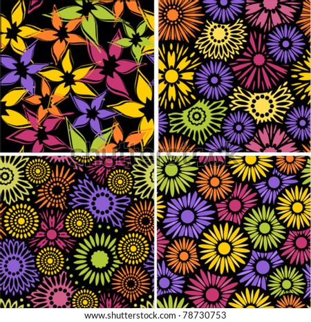 set of four floral seamless colorful backgrounds / patterns