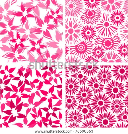 set of four floral seamless pink backgrounds