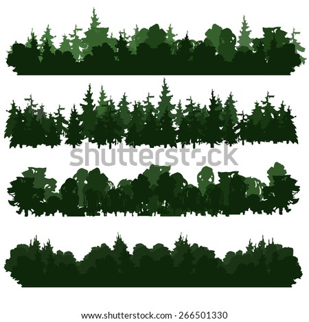 set of four forest silhouettes